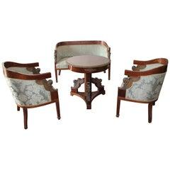 Gilt Bronze-Mounted Mahogany Marquetry Parcel-Gilt Salon Suite, 1870