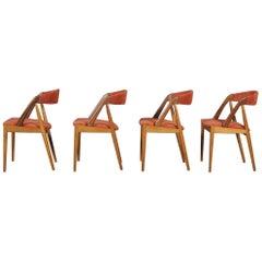 Danish Kai Kristiansen Four Teak Dining Chairs Model #31 for Scho Andersen 1960s
