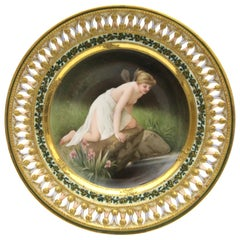 "Old Meissen Porcelain Plate ""Psyche at the Water"" with Rich Gold Painting"