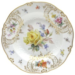 Meissen Porcelain Dinner Plate with Fine Insects, Gold and Flower Painting