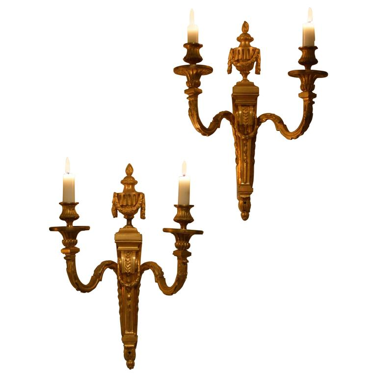 Pair of French Neoclassical Two-Light Candle Sconces