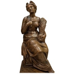 19th Century French Napoleón III Walnut Wood Sculpture, Allegory of Summer