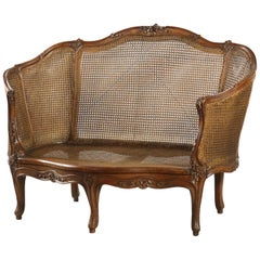 "19th Century French Hand Carved Walnut Sofa ""Corbeille"" in Louis XV Style"