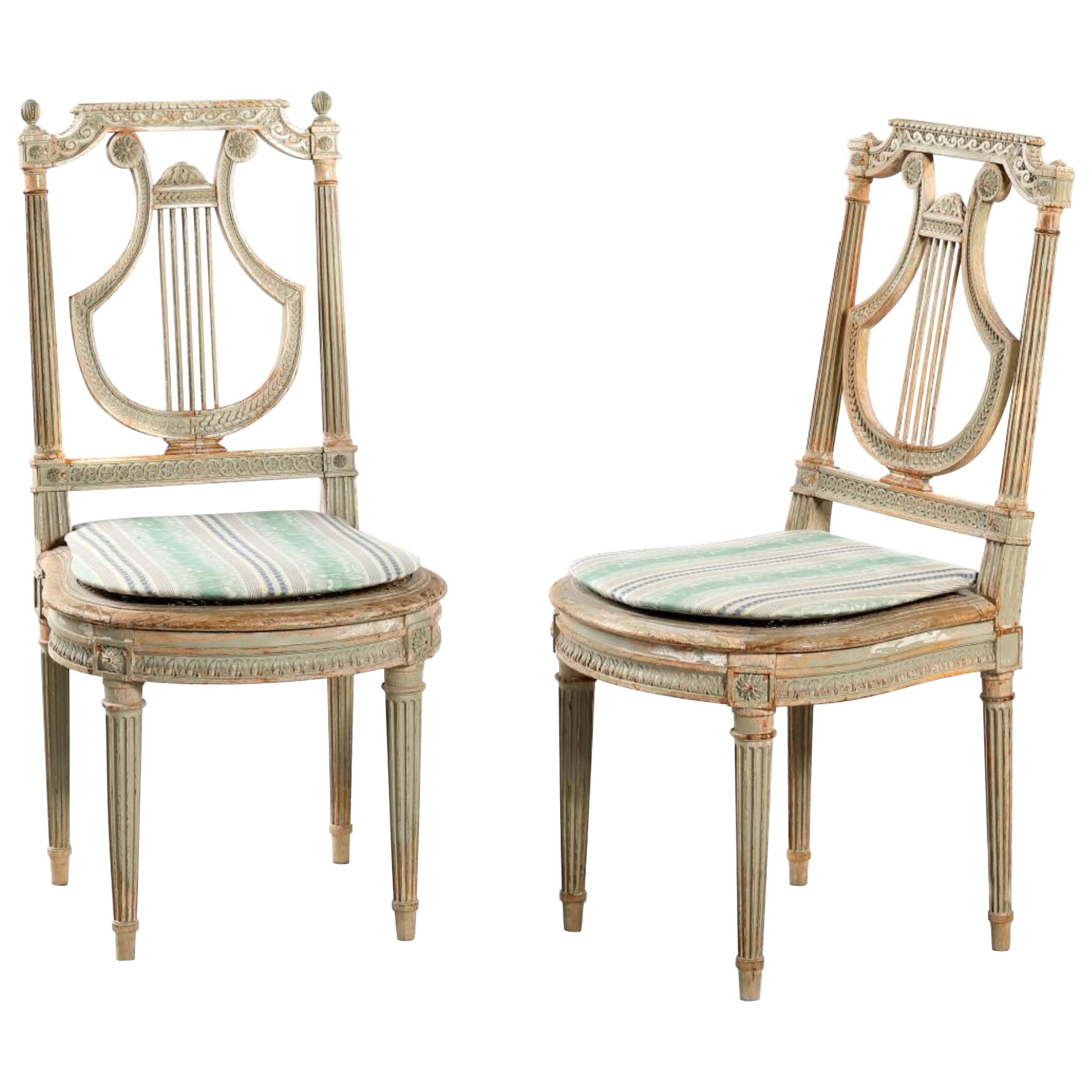 """19th Century French Louis XVI Pair of Petite Hand Painted Side Chairs """"Lyre"""""""