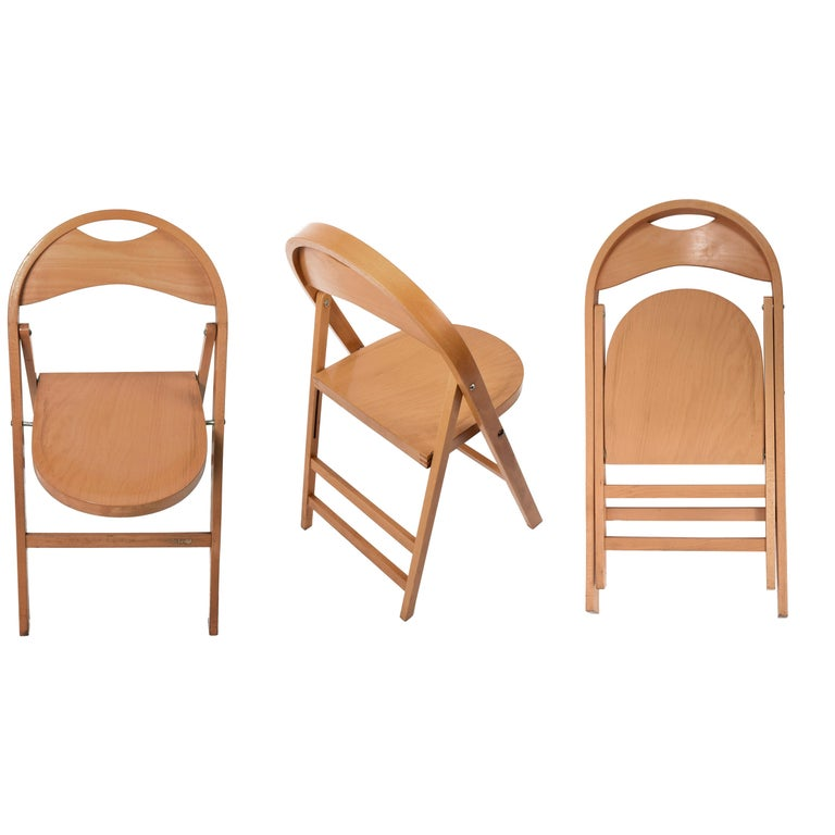 Four Tric Chairs by Castiglioni for BBB Emmebonacina, Italy, 1970s Folding Chair