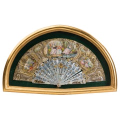 19th Century Illustrated French Hand Fan in Gilt Shadow Box Frame
