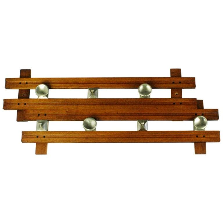 Italian Midcentury Teak Wall Coat Rack Regolo by Ico Parisi for Stildomus