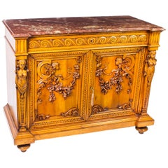 Antique French Carved Walnut Marble Topped Chiffonier, 19th Century