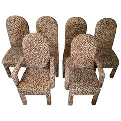 Mid-Century Modern Set of 6 Faux Leopard Dining Chairs 4 Armless / 2-Arm