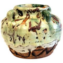 Awaji Pottery Manipulated Jar Gloppy Drip Glaze Zen Tea Ceremony Vase