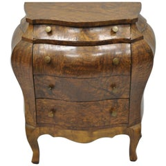 Vtg Miniature Italian Burl Olive Wood French Louis XV Style Bombe Commode Chest