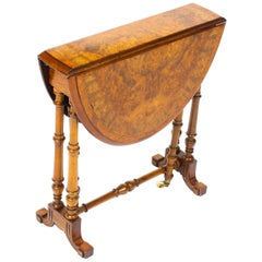 19th Century Victorian Small Burr Walnut and Inlaid Sutherland Table