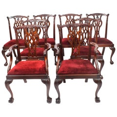 Vintage Set of 8 Mahogany Chippendale Dining Chairs, 20th Century