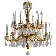 French Rococo Style Gilt Bronze and Crystal 24 Lights Chandelier