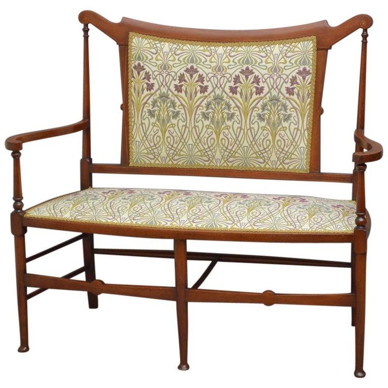 Stylish Art Nouveau Mahogany Settee, Sofa