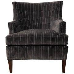 Early Chair by Edward Wormley for Dunbar, Fully Restored, Dark Gray Pinstripe