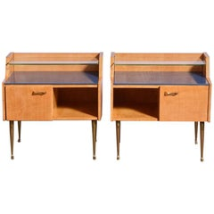 Pair of Mid-Century Italian 1950s Nightstands in Sycamore