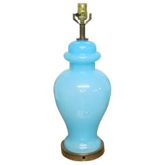 Vintage Blue Opaline Glass Lamp