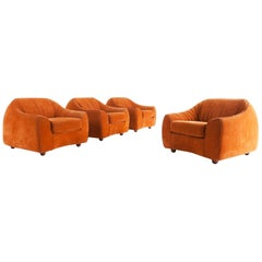 Mid-Century Modern Orange Suede Italian Easy Chairs, 1960s