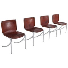 Giotto Stoppino Patinated Red Leather and Chrome Vintage Dining Chairs Model Jot