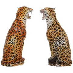 Leopard Ceramic Hand-Painted Sculptures from Italy, 1950s