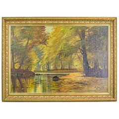 Autumnal Landscape, an Oil Painting Signed by A. Johansen