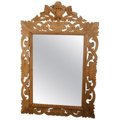Large French Carved Bleached Oak Mirror