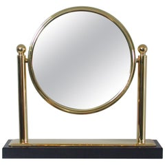Midcentury Italian Brass and Marble Tilting Table Mirror, 1950s
