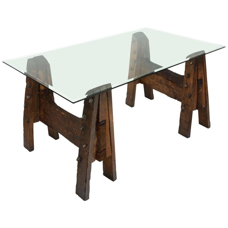 Industrial Oak Table For Sale