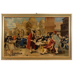Mixed-Media on Canvas Italian Painting View of Piazza San Marco Venice, 1983