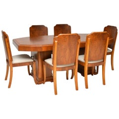 1920s Original Art Deco Walnut Dining Table and Chairs
