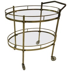 Midcentury Two-Tiered Oval Brass Glass Bar Cart Trolley