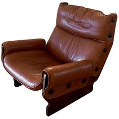 1960s Leather 'Canada' Chair by Osvaldo Borsani for Tecno