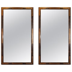 Pair of Hollywood Dark Brown Walnut Hand Painted Gilt Églomisé Mirrors