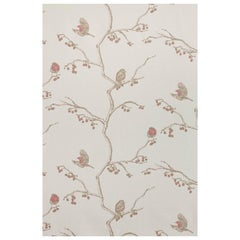 'The English Robin' Contemporary, Traditional Fabric in Parchment