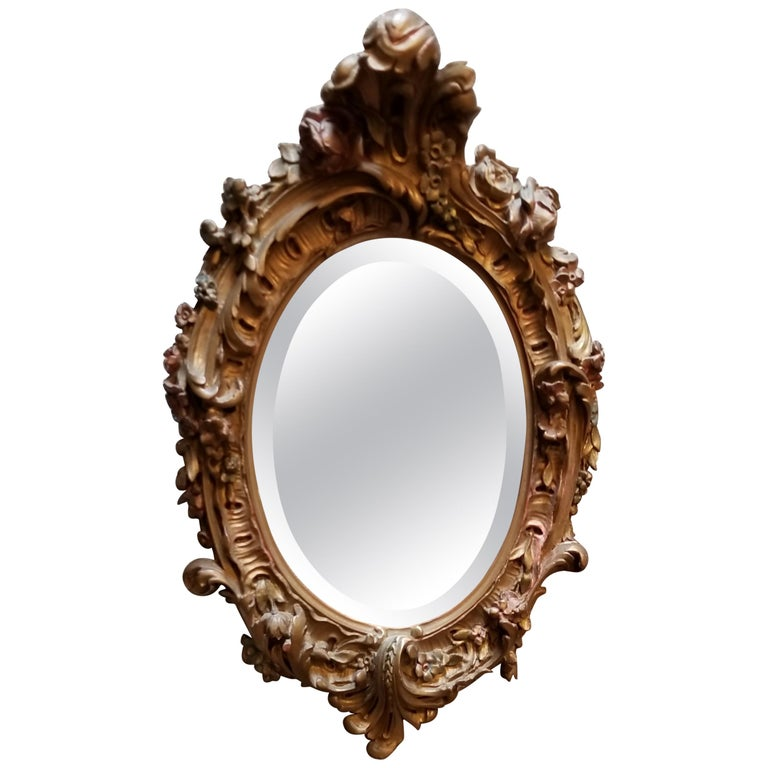 19th Century Hand-Carved Oval Mirror