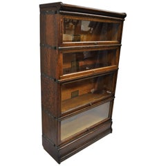 Globe Wernicke Quarter Sawn Tiger Oak 4-Section Stack Barrister Lawyers Bookcase