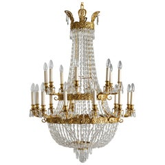 French Empire Style Gilt Bronze and Crystal Chandelier