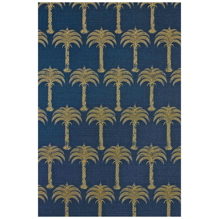 'Marrakech Palm' Contemporary, Traditional Fabric in Midnight Blue For Sale