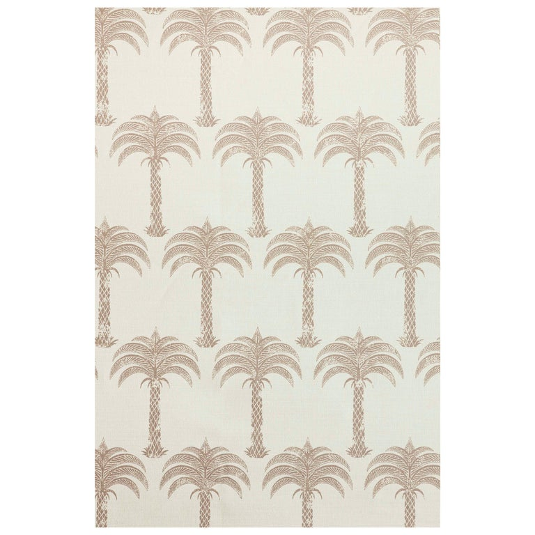'Marrakech Palm' Contemporary, Traditional Fabric in Soft Gold