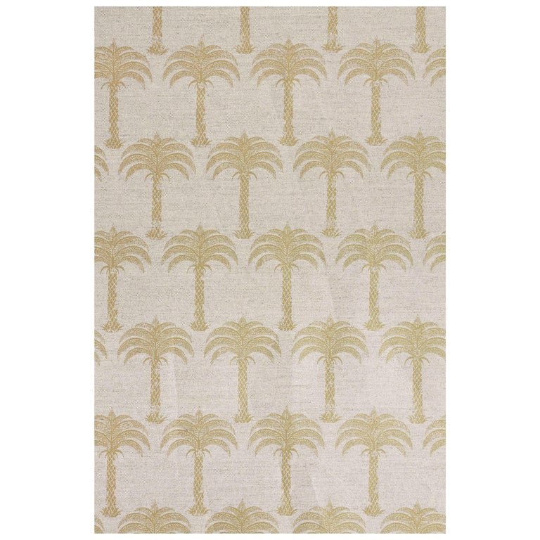 'Marrakech Palm' Contemporary, Traditional Fabric in Gold on Natural