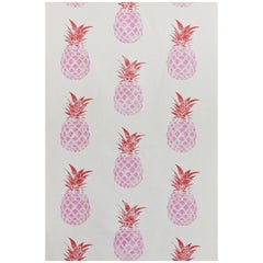 'Pineapple' Contemporary, Traditional Fabric in Pink/Red on Cream