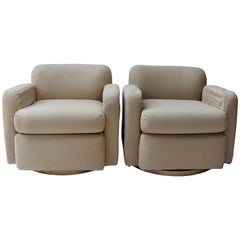 Pair of Thayer Coggin Swivel Club Chairs