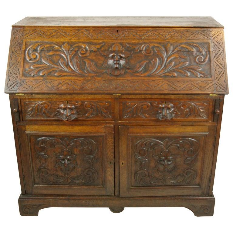 Slant Front Desk, Oak Antique Desk, Carved Oak Desk, Scotland, 1880, - Antique Drop Front Desk, Tiger Oak, Slant Front Desk, Scotland B525