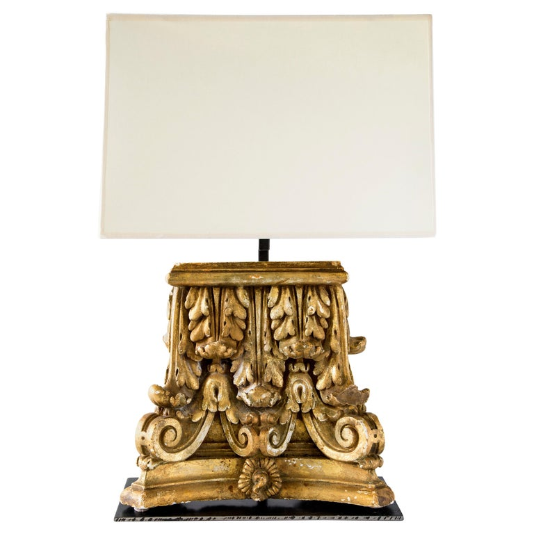 Custom Table Lamp with Gilded Capitol Fragments For Sale