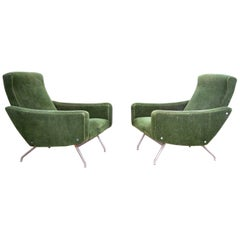 Pair of Joseph Andre Motte Armchairs France, circa 1950