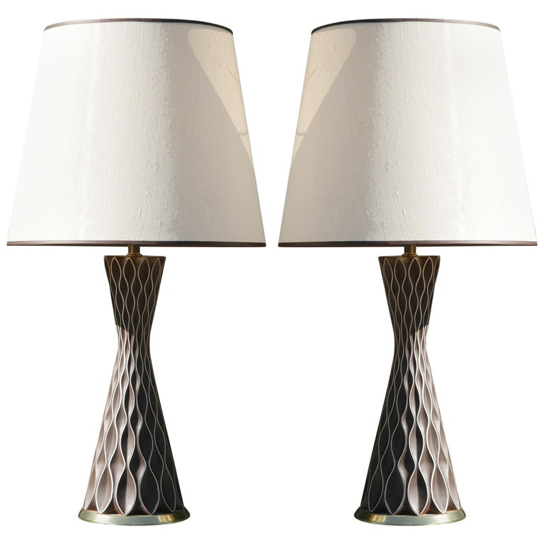 Pair of Chocolate Honeycomb Lamps by Gerald Thurston for Lightolier, 1950s For Sale