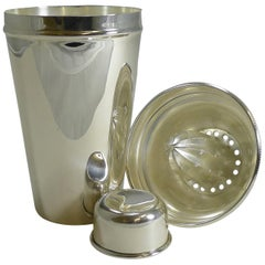 English Art Deco Silver Plate Cocktail Shaker with Lemon Squeezer, circa 1930