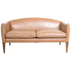 Illum Wikkelso Two-Seat Brown Leather Danish Sofa
