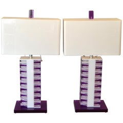 Modern Purple and White Lucite Table Lamps with Shades, a Pair